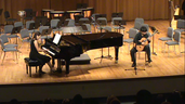 Kevin Huang, age 13, plays 2nd movement of Concierto de Aranjuez, accompanied by Virginia Covarrubias, at Guzmal Hall, University of Miami
