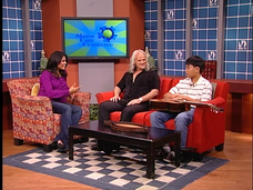 Juan Carlos Vera and 11 year old Keving Huang, responding to questions from host Johanna Gomez during a recording of the cable television show MD Connected.